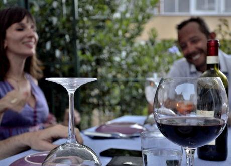 Al fresco summer dinner in Rome